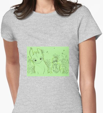 Toothless and Hiccup Womens Fitted T-Shirt
