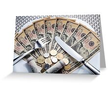 Cost of Living concept - fork knife and plat with Dollar banknotes Greeting Card