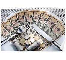 Cost of Living concept - fork knife and plat with Dollar banknotes Poster
