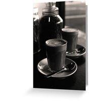 latte's at bekendales ( by the window - b&w film) Greeting Card