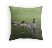 geese on my pond Throw Pillow