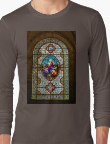 Stain glass window in a Church in Autoire Long Sleeve T-Shirt
