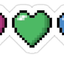 Polysexual Pixel Hearts Sticker