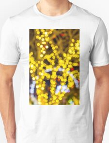 Abstract defocused colour lights in a dark black night T-Shirt