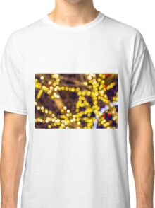Abstract defocused colour lights in a dark black night Classic T-Shirt