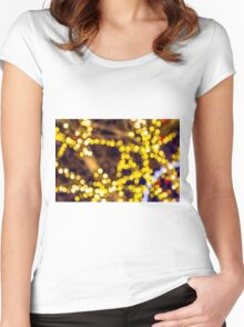 Abstract defocused colour lights in a dark black night Women's Fitted Scoop T-Shirt