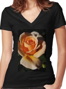 Peach Rose Women's Fitted V-Neck T-Shirt