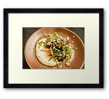 A serving of eggplant and mashed potato  Framed Print