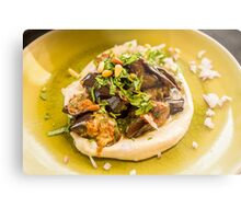 A serving of eggplant and mashed potato  Metal Print