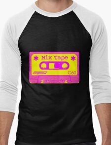 Psychedelic Mix Tape - Magenta and Yellow Men's Baseball ¾ T-Shirt
