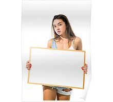 Young model hold a blank whiteboard ready for your text  Poster
