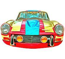 Triumph GT Vintage Race Car Photographic Print