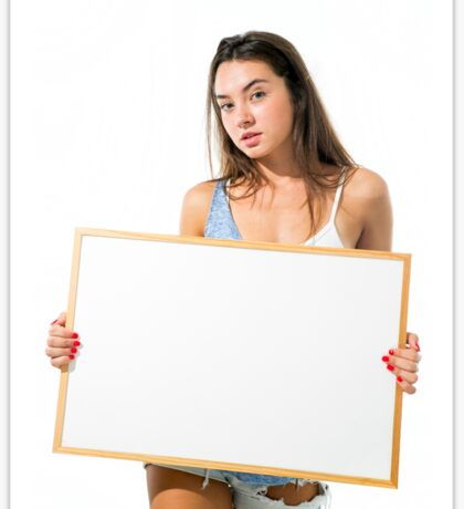 Young model hold a blank whiteboard ready for your text  Sticker