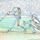 Digital Art Image of Baseball Player Hitting Ball by Diane Johnson