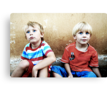 Two Blonde-Haired and Blue-Eyed Boys Canvas Print