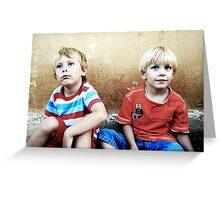Two Blonde-Haired and Blue-Eyed Boys Greeting Card