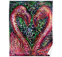 Hearts A'Flamingo Poster