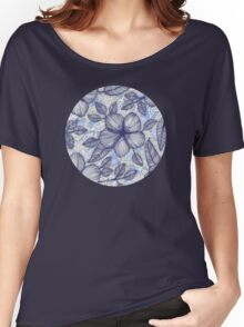 Indigo Summer - a hand drawn floral pattern Women's Relaxed Fit T-Shirt