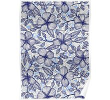 Indigo Summer - a hand drawn floral pattern Poster