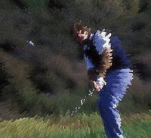 Digital Photo of Male Golfer Swinging a Club by Diane Johnson