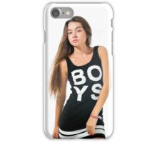 Playful female teen wearing black top  iPhone Case/Skin