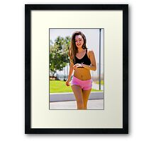 Young teen sportswoman jogging in the park  Framed Print