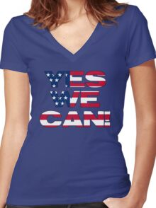 Yes we can! Women's Fitted V-Neck T-Shirt