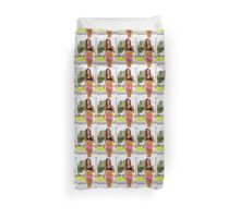Young teen sportswoman jogging in the park  Duvet Cover