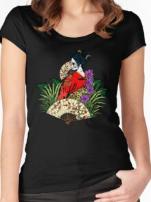 Tropical Horror Print 3 Women's Fitted Scoop T-Shirt