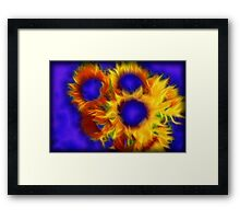 Neon Sunflowers Framed Print