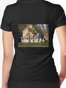 A Cow in The Front Yard with a Bedit Women's Fitted V-Neck T-Shirt