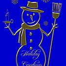 Gold Snowman Holiday Greetings  by David Dehner