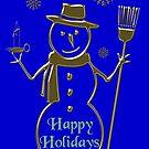 Gold Snowman Happy Holidays  by David Dehner