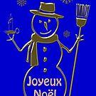 Gold Snowman French Merry Christmas Joyeux Noel by David Dehner