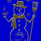 Gold Snowman Portuguese Merry Christmas Feliz Natal by David Dehner