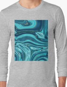 abstract ocean waves blue marble pattern teal swirls Long Sleeve T-Shirt
