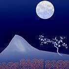 Tree, mountain and moon by Baye Hunter