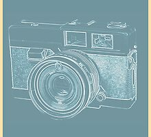 Vintage 35mm Film Camera Blue Pop Art by Edward Fielding