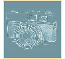 Vintage 35mm Film Camera Blue Pop Art Photographic Print