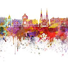 Strasbourg skyline in watercolor background by paulrommer
