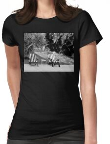 TILT SHIFT DISTORTION AND THE TWO LEGGED TABLE Womens Fitted T-Shirt