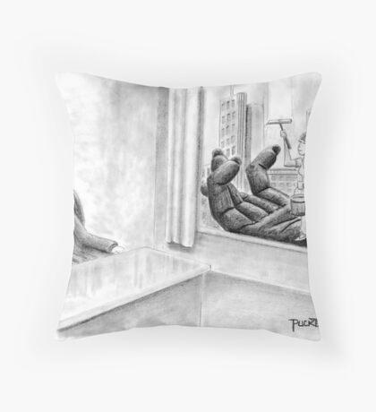 King Kong Window Washer Throw Pillow