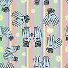 Seamless Hand-Drawn Gardening Gloves Background by Stacey Lynn Payne