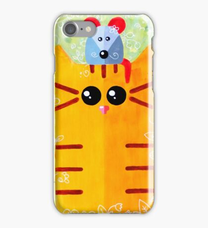 Summer funny cat with mouse iPhone Case/Skin