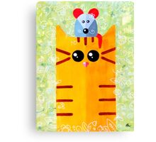 Summer funny cat with mouse Canvas Print