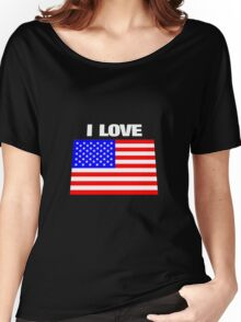 I love USA Women's Relaxed Fit T-Shirt