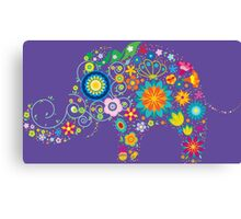 Elephant colorful Flowers Canvas Print