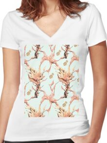 Clownfish Blossoms Women's Fitted V-Neck T-Shirt