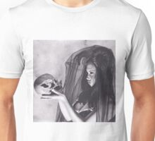 Realism Charcoal Drawing of Sexy Dark Queen in Veil with Skull Unisex T-Shirt