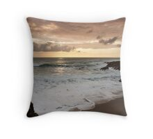 Dramatic sunset in Newquay Throw Pillow